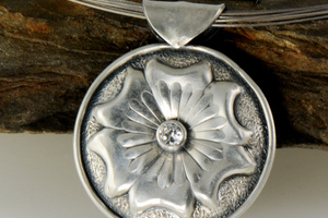 Rose Engine Carved Flower Pendant by Raminta Jautokas