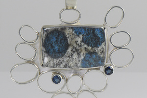 K2 and Blue Sapphire Sterling Silver Pendant by Raminta Jautokas