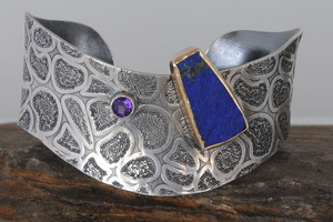 Lapis Gold Bezel Sterling Silver Textured Cuff by Raminta Jautokas