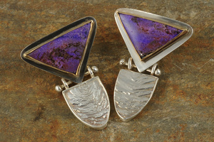 Sugilite Gold Bezel and Reticulated Silver Earrings by Raminta Jautokas