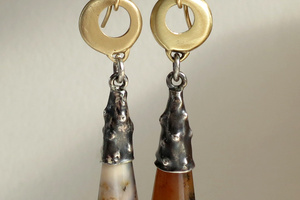 14K yellow gold, hand texture sterling silver and agate drop earrings.