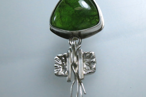 "Green tourmaline ""Squid"" pendant."