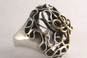 Silver lace ring with 14K gold.