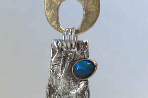 14K gold, black opal and sterling silver pendant.