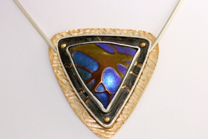 Blown glass, sterling, nu gold.