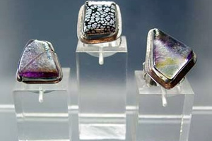 Rings with blown glass