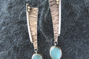 Aqua sea glass earrings accented with 22k gold