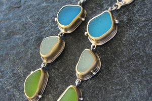Gold bezeled triple drop sea glass earrings
